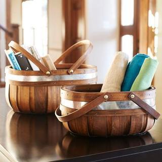 Household Essentials Decorative Brown Wicker, Cedar, and Silver Metal Market Baskets (Set of 2)