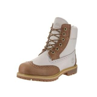 Timberland Women's White Nubuck 6-inch Premium Brogue Boots