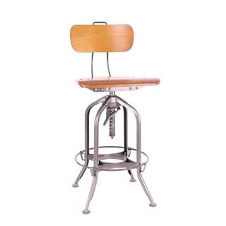 Toledo Natural/Gunmetal Adjustable High Back Bar Chair 25 - 29 Inch
