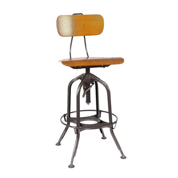 Stupendous Shop Toledo Natural Gunmetal Adjustable High Back Bar Chair Short Links Chair Design For Home Short Linksinfo
