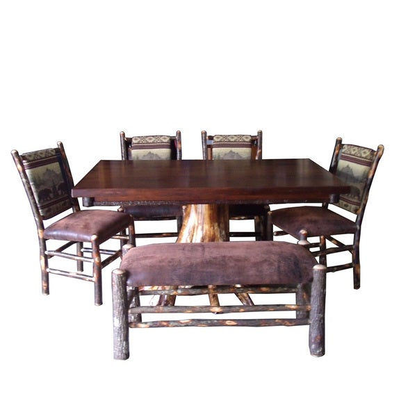 Cedar Dining Room Table: Shop White Cedar Stump Dining Table And Chair Set With