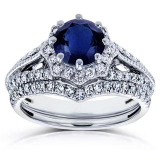 Annello by Kobelli 14k White Gold Blue Sapphire and 1/2ct TDW Diamond Star Halo Bridal Set (H-I, I1-I2)