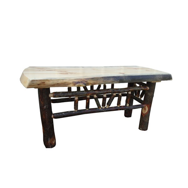 Rustic Pine And Hickory Log Natural Edge Dining Bench/ Coffee Table