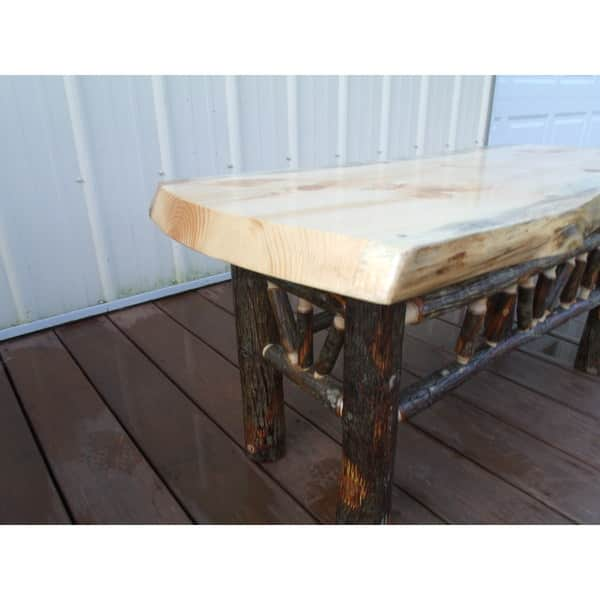 Shop Rustic Pine And Hickory Log Natural Edge Dining Bench Coffee