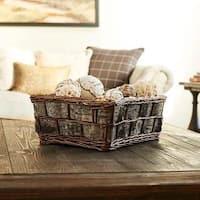 Birch Bark Decorative Wicker Basket