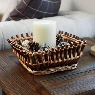 Household Essentials Square Wood Stick Willow Basket