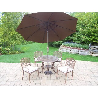 Havenside Home Wrightsville Antique Bronze Shaded 7-piece Cushioned Patio Dining Set