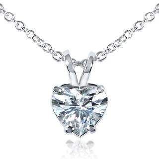 Annello by Kobelli 14k White Gold 6.5mm Heart Shape Moissanite (FG) Solitaire Necklace