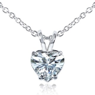 Annello by Kobelli 14k White Gold 6.5mm Heart Shape Moissanite (FG) Solitaire Necklace