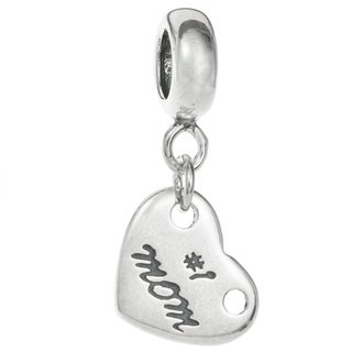 Queenberry Sterling Silver '#1 Mom' Dangling European-Style Bead Charm (California)