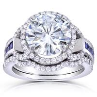 Annello by Kobelli 14k White Gold Moissanite (FG) with Blue Sapphire and 1/2ct TDW Diamond 3-Piece Bridal Set