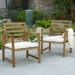 Emilano Outdoor Acacia Wood Club Chair with Cushions (Set of 2) by Christopher Knight Home