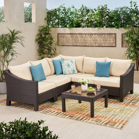 Antibes Outdoor 6-piece V Shaped Sectional Sofa Set with Cushions by Christopher Knight Home