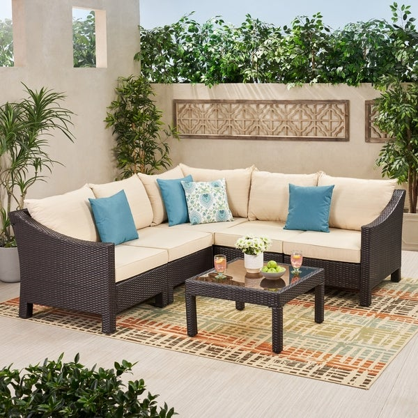 Antibes Outdoor 6-piece V Shaped Sectional Sofa Set with Cushions by Christopher Knight Home. Opens flyout.