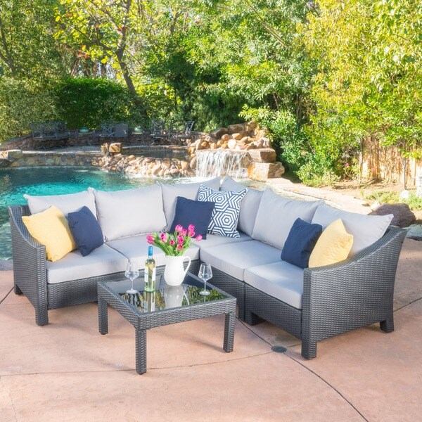 Outdoor Sectional Sofa Images: Shop Antibes Outdoor 6-piece V Shaped Sectional Sofa Set