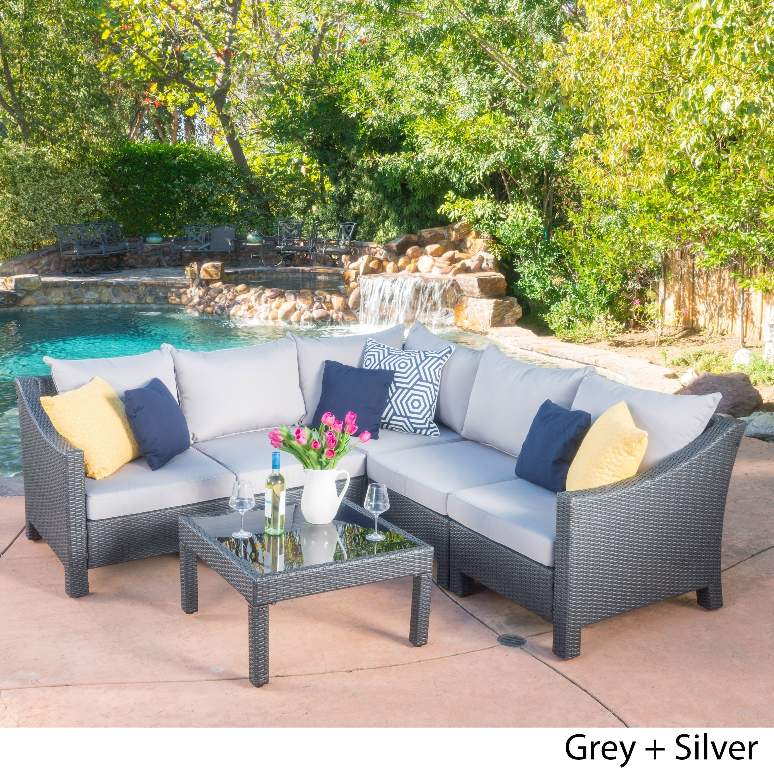 christopher knight home puerta grey outdoor wicker sofa set. Antibes Outdoor 6-piece V Shaped Sectional Sofa Set With Cushions By Christopher Knight Home Puerta Grey Wicker