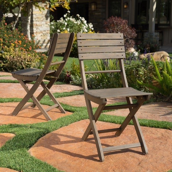 Positano Outdoor Acacia Wood Folding Dining Chair (Set Of 2) By Christopher  Knight Home