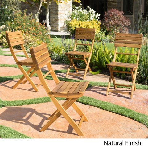 Positano Outdoor Acacia Wood Folding Dining Chair (Set of 4) by Christopher Knight Home