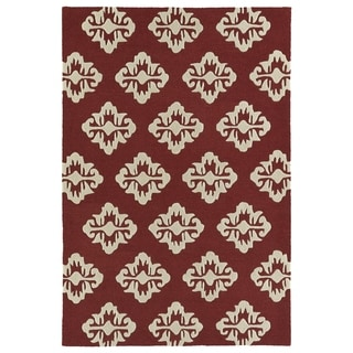 Trends Red Damask Hand Tufted Rug (8'0 x 10'0)