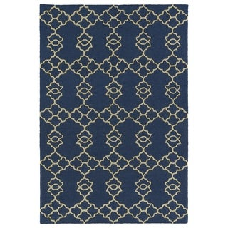 Trends Blue Trellis Hand Tufted Rug (5'0 x 7'0) - 5' x 7'