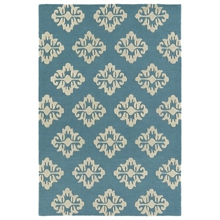Trends Turquoise Damask Hand Tufted Rug (8'0 x 10'0)