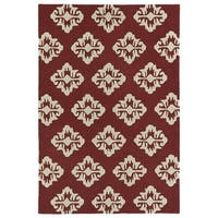Trends Red Damask Hand Tufted Rug - 2' x 3'