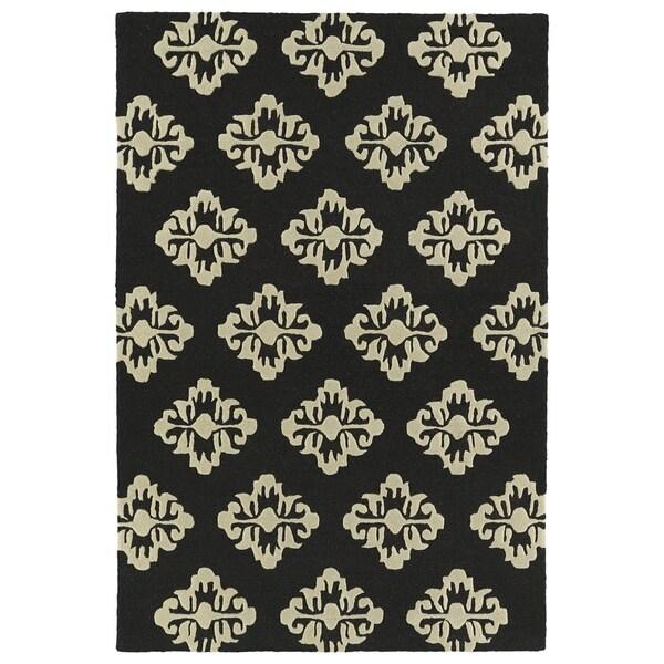 Trends Black Damask Hand Tufted Rug (2'0 x 3'0) - 2' x 3'