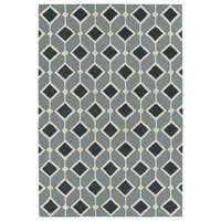 Trends Mid-Century Teal Blue Hand Tufted Rug - 5' x 7'