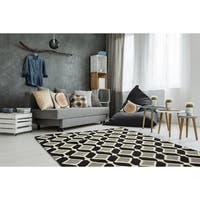 Trends Mid-Century Black Hand Tufted Rug - 5' x 7'