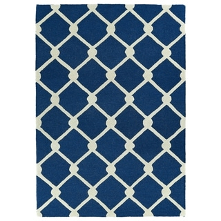 Trends Navy Trellis Hand Tufted Rug (8'0 x 10'0)