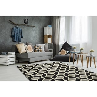 Trends Mid-Century Black Hand Tufted Rug (3' x 5')