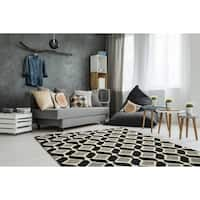 Trends Mid-Century Black Hand Tufted Rug - 3' x 5'