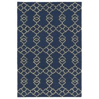 Trends Blue Trellis Hand Tufted Rug (3'0 x 5'0)