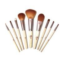 9-piece Natural Bamboo Makeup Bag & Brush Set