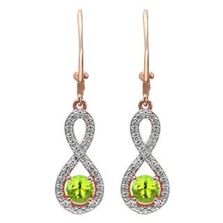 10k Gold 1 1/10ct Round-cut Peridot and White Diamond Infinity Dangling Earrings (I-J, I1-I2)