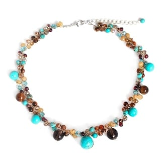 Handcrafted Sterling Silver Overlay 'Autumn River' Multi-gemstone Choker (Thailand)