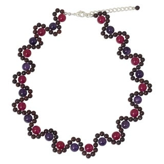 Handcrafted Sterling Silver Overlay 'Fuchsia Mist' Multi-gemstone Necklace (Thailand)