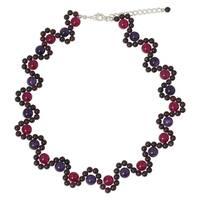 Handmade Sterling Silver Overlay 'Fuchsia Mist' Multi-gemstone Necklace (Thailand)
