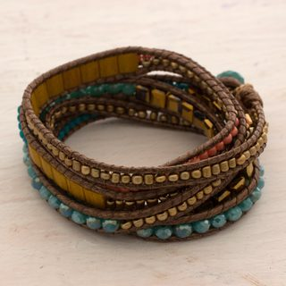 Handmade Beaded Glass 'Multicolor Fiesta' Bracelet (Guatemala)