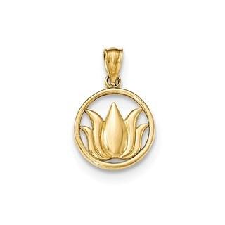 14K Yellow Gold Lotus Flower Circle Pendant
