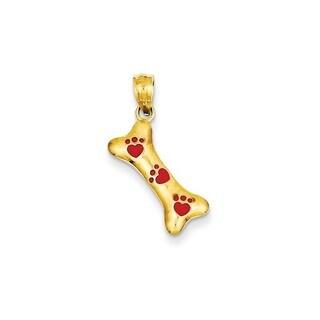 14K Yellow Gold Dog Bone with Red Enamel Paw Prints Pendant