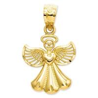 14k Yellow Gold Polished Angel Pendant