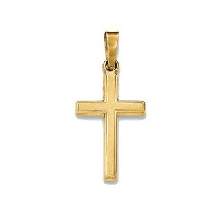 14k Yellow Gold Polished Latin Cross Pendant