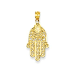 Gold charms for less overstock 14k yellow gold hand of god pendant aloadofball Gallery