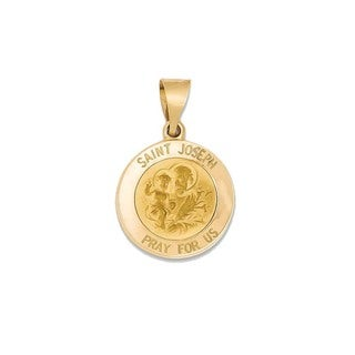 14k Yellow Gold Satin-polished St. Joseph Medal Pendant