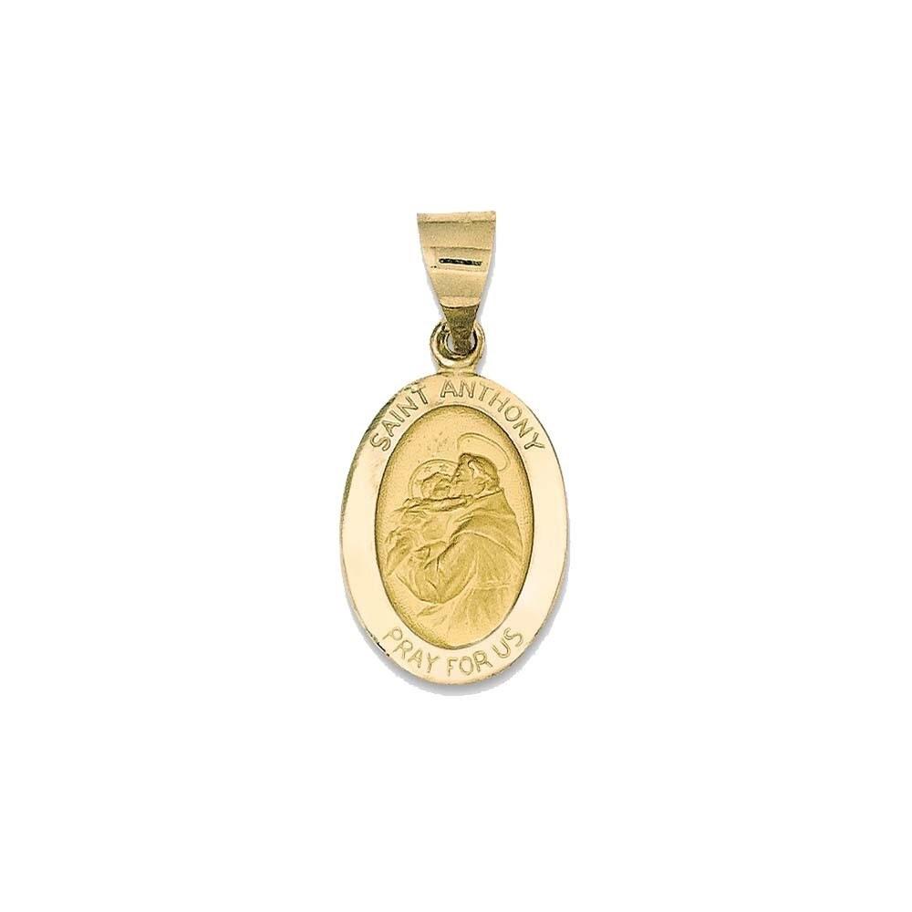 14k Yellow Gold Polished Satin St. Anthony Medal Pendant ...
