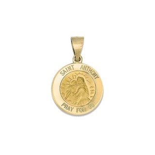 14k Yellow Gold Polished and Satin St. Anthony Medal Pendant