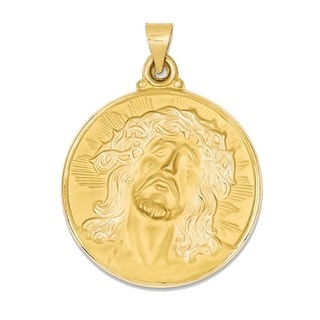 14k Yellow Gold Polished and Satin Face of Jesus Medal Pendant