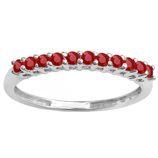 10k White Gold 3/8ct Round Ruby Anniversary Stackable Wedding Band
