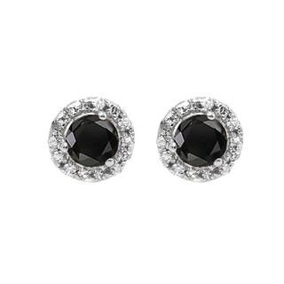 10k White Gold 1/3ct TDW Round Black and White Diamond Halo Stud Earrings (I-J, I2-I3)